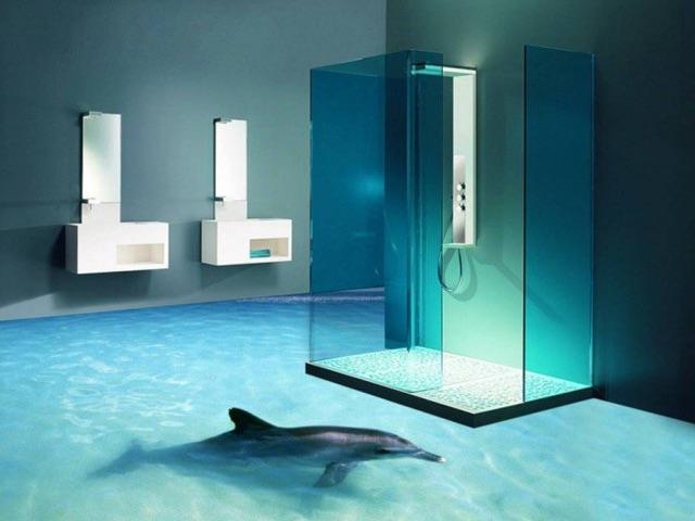 Les oc ans inondent les salles de bain juumag for Sol salle de bain jonc de mer