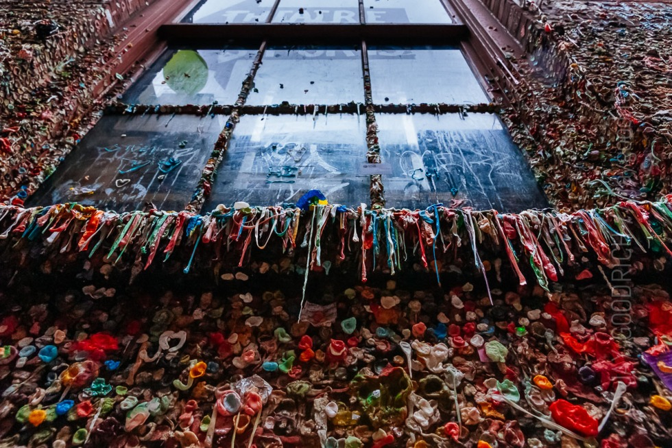 Close up of gum covered wall and window sill near Pike Place Market in Seattle, Washington.