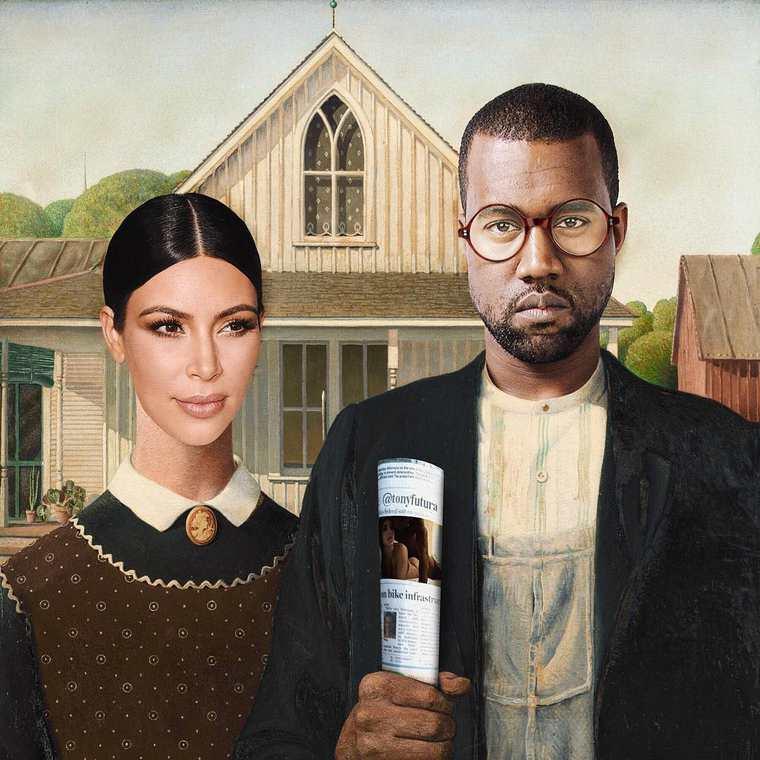 Kanye west et kim kardashian grimés