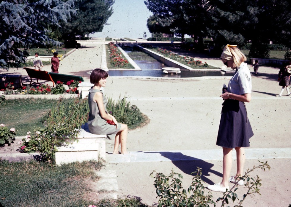 """(L-R) Jan and Peg Podlich at Paghman Gardens, which was destroyed during the years of war before the 2001 U.S. invasion of Afghanistan."""