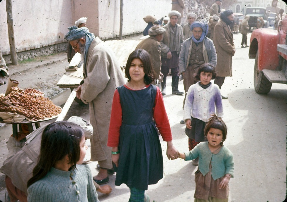 """""""Sisters pose for a photograph in Kabul."""""""