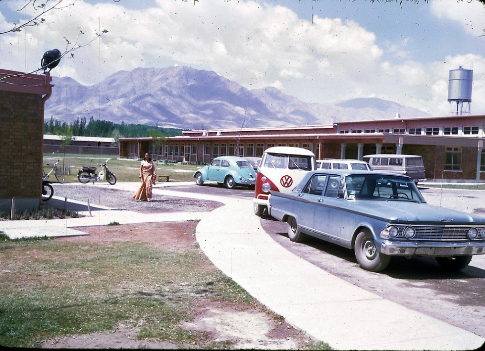 """Parking lot of the American International School of Kabul. The school no longer exists, although alumni stay in touch through Facebook and hold reunions every few years at different cities around the U.S. The next reunion will be held in Boston in 2013. ""AISK's last year was 1979, so the school had a 20 year history. AISK was located on the same campus that currently houses the American University of Afghanistan (on Darul-aman Rd in west Kabul). In 1967-68, there were about 250 students attending AISK and 18 graduating seniors."" - Peg Podlich"""