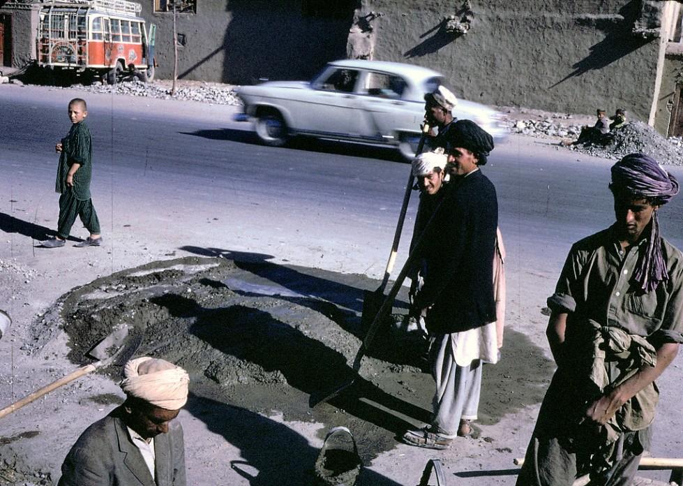 """""""Afghan workers make a street repair in Kabul."""""""