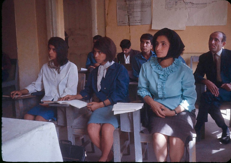 """Students at the Higher Teachers College of Kabul where Dr. Podlich, the photographer, worked and taught for two year's with the United Nations Educational, Scientific and Cultural Organization."""